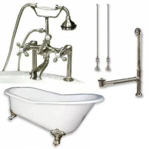 """Cambridge ST61-463D-6-PKG-BN-7DH Cast Iron Slipper Clawfoot Tub 61"""" x 30"""" with 7"""" Deck Mount Faucet Drillings and British Telephone Style Faucet Complete"""