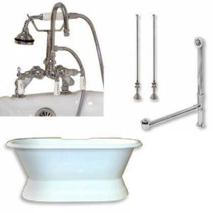 """Cambridge DES-PED-684D-PKG-CP-7DH Cast Iron Double Ended Slipper Tub 71"""" x 30"""" with 7"""" Deck Mount Faucet Drillings and English Telephone Style Faucet Complete"""