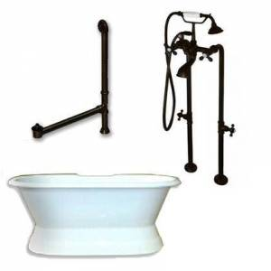 """Cambridge DES-PED-398463-PKG-ORB-NH Cast Iron Double Ended Slipper Tub 71"""" x 30"""" with No Faucet Drillings and Complete Free Standing British Telephone Faucet"""