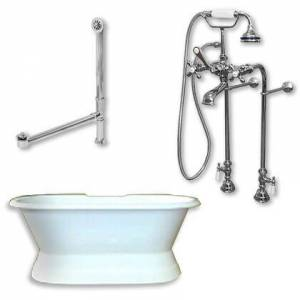 """Cambridge DES-PED-398463-PKG-CP-NH Cast Iron Double Ended Slipper Tub 71"""" x 30"""" with No Faucet Drillings and Complete Free Standing British Telephone Faucet"""