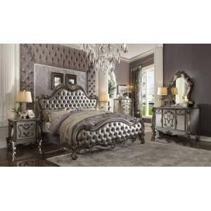 Acme Furniture Versailles II Collection 26837EKSET 5 PC Bedroom Set with King Size Bed  Dresser  Mirror  Chest and Nightstand in Antique Platinum