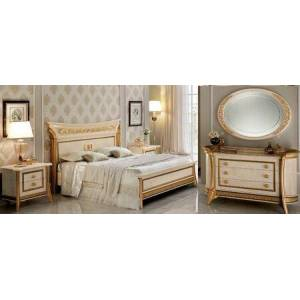 ESF Melodia MELODIABEDKS-2NSDRMR 5-Piece Bedroom Set with King Sized Bed  2 Nightstands  Dresser and Mirror in