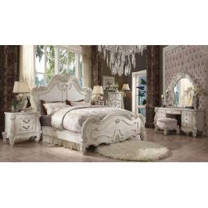 Acme Furniture Versailles Collection 21760Q6SET 6 PC Bedroom Set with Queen Size Bed  Mirror  Chest  Nightstand  Vanity Desk and Vanity Stool in Bone White