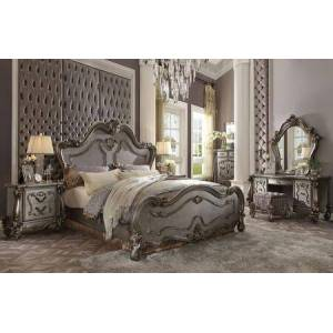Acme Furniture Versailles Collection 26857EK7SET 7 PC Bedroom Set with King Size Bed  Mirror  Chest  2 Nightstands  Vanity Desk and Vanity Stool in Antique Platinum