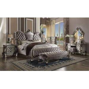 Acme Furniture Versailles Collection 26817EK7SET 7 PC Bedroom Set with King Size Bed  Mirror  Chest  Nightstand  Bench  Vanity Desk and Vanity Stool in Antique