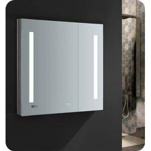 """Fresca FMC013030 Tiempo 30"""" Wide x 30"""" Tall Bathroom Medicine Cabinet with LED Lighting and Defogger  in"""