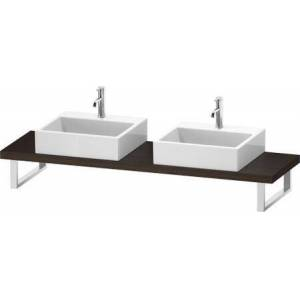"""Duravit L-Cube Collection LC101C06969 19"""" Floor Standing Single Console with Two Cut-Out for Above Counter Basin in Brushed Walnut"""