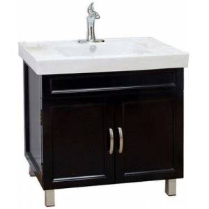 """Bellaterra Home 203131 Collection 203131-B 32"""" Single Sink Vanity with 2 Doors  1 Shelf  White Ceramic Countertop  Chrome Finish Hardware  White Ceramic Sink and"""