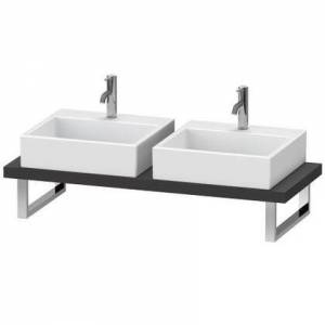 """Duravit L-Cube Collection LC101C08080 19"""" Floor Standing Single Console with Two Cut-Out for Above Counter Basin in Graphite Super Matte"""