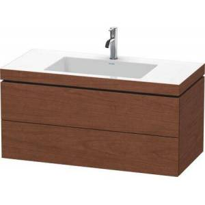 """Duravit L-Cube Collection LC6928N1313 39.38"""" Wall Mounted Vanity with Two Drawers Includes C-Bonded Wash Basin without Faucet Hole in American"""