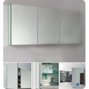 """Fresca FMC8019 60"""" Wide Bathroom Medicine Cabinet with 3 Mirrored Doors and 4 Glass"""