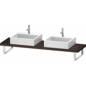 """Duravit L-Cube Collection LC101C05353 19"""" Floor Standing Single Console with Two Cut-Out for Above Counter Basin in Chestnut Dark"""