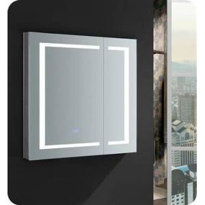 """Fresca FMC023030 Spazio 30"""" Wide x 30"""" Tall Bathroom Medicine Cabinet with LED Lighting and Defogger  in"""