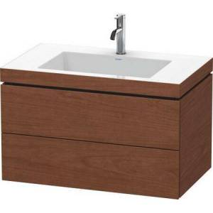 """Duravit L-Cube Collection LC6927N1313 31.5"""" Wall Mounted Vanity with Two Drawers Includes C-Bonded Wash Basin without Faucet Hole in American"""