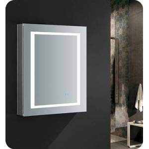 """Fresca FMC022430-L Spazio 24"""" Wide x 30"""" Tall Bathroom Medicine Cabinet with LED Lighting and Defogger  in"""