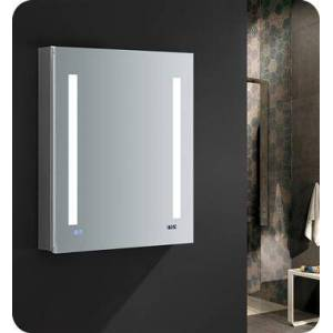 """Fresca FMC012430-R Tiempo 24"""" Wide x 30"""" Tall Bathroom Medicine Cabinet with LED Lighting and Defogger  in"""