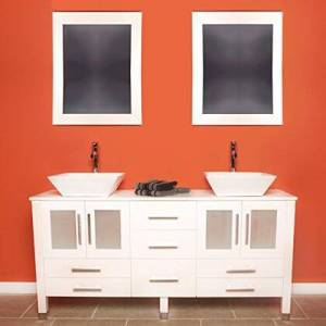 """Cambridge 8119W-BN 63"""" Solid White Wood Vanity with Frosted Glass Counter Top and 2 Matching Vessel sinks. Included: 2 Long-Stemmed Brushed Nickel"""