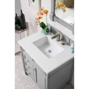 """James Martin Brittany Collection 650-V30-UGR-3CLW 30"""" Single Vanity  Urban Gray  with 3 CM Classic White Quartz Top with"""