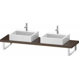 """L-Cube Collection LC101C02121 19"""" Floor Standing Single Console with Two Cut-Out for Above Counter Basin in Dark Walnut"""