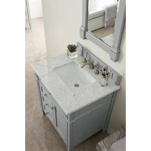 """Brittany Collection 650-V30-UGR-3CAR 30"""" Single Vanity  Urban Gray with 3 CM Carrara Marble"""