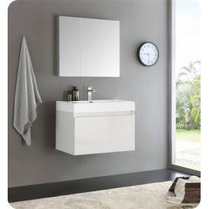 """Fresca Mezzo Collection FVN8007WH 30"""" Wall Hung Modern Bathroom Vanity with Medicine Cabinet  Blum TANDEM Plus BLUMOTION Drawer System and Integrated"""