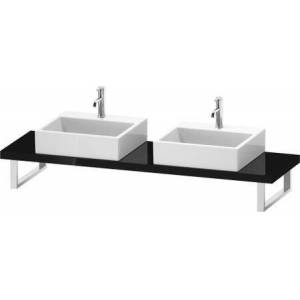 """Duravit L-Cube Collection LC101C04040 19"""" Floor Standing Single Console with Two Cut-Out for Above Counter Basin in Black"""