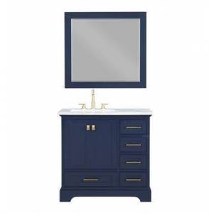 Stufurhome Brittany Collection HE-7131B-36-CR 36-Inch Single Sink Bathroom Vanity with Mirror in Dark Blue