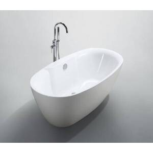 """Bellaterra Home BA6833B Pisa 63"""" Freestanding Oval Acrylic Bathtub with Back center Manual Drain Included in Glossy"""