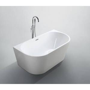 """Bellaterra Home BA6815B Calabria 59"""" Freestanding Oval Acrylic Bathtub with Center Pop-up Drain Included and Back to Wall in Glossy"""