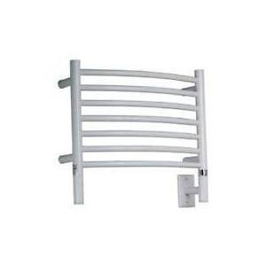 """Amba Jeeves Collection HCW 20"""" H Curved Towel Warmer with 7 Horizontal Bars  1 Towel Unit  60-80 Watts and Liquid-Filled Warming System in White"""