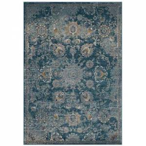 Modway Cynara Collection R-1111B-58 Distressed Floral Persian Medallion 5x8 Area Rug in Silver Blue  Teal and Beige