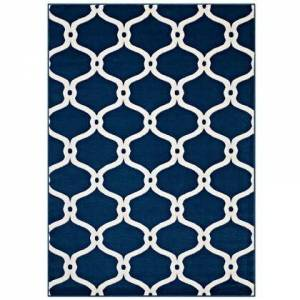 Modway Beltara Collection R-1129B-58 Chain Link Transitional Trellis 5x8 Area Rug in Moroccan Blue and Ivory