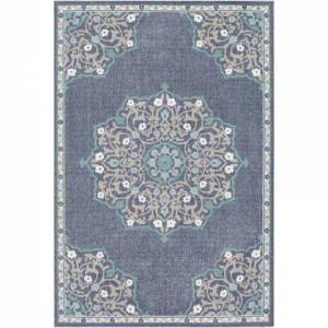 """Surya Alfresco ALF-9678 2'5"""" x 11'10"""" Runner Traditional Rug in Charcoal  Taupe  Teal  White"""