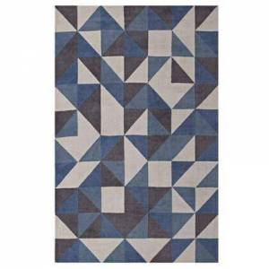 Modway Kahula Collection R-1014B-58 Geometric Triangle Mosaic 5x8 Area Rug in Blue  White and Grey
