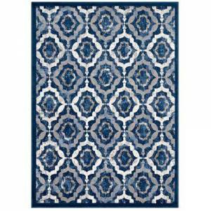 Modway Kalinda Collection R-1128B-58 Rustic Vintage Moroccan Trellis 5x8 Area Rug in Beige  Moroccan Blue and Ivory