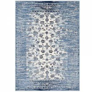 Modway Chiara Collection R-1131B-58 Distressed Floral Lattice Contemporary 5x8 Area Rug in Moroccan Blue and Ivory