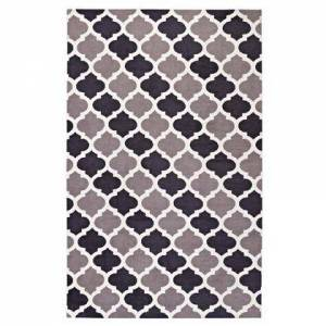 Modway Lida Collection R-1001B-58 Moroccan Trellis 5x8 Area Rug in Charcoal and Black