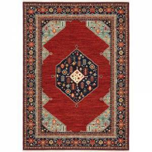 Oriental Weavers L5503M078370ST Lilihan Power Loomed Wool/Nylon Traditional/Traditional Rug 2.6 x 12 feet in Red/Blue