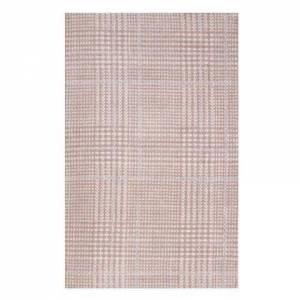 Modway Kaja Collection R-1024B-58 Abstract Plaid 5x8 Area Rug in Ivory  Cameo Rose and Light Blue