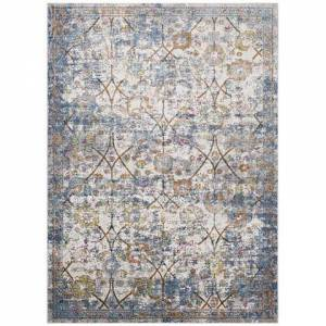 Modway Minu Collection R-1091B-58 Distressed Floral Lattice 5x8 Area Rug in Light Blue  Yellow and Orange