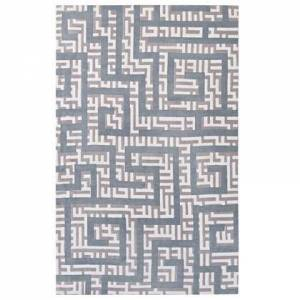 Modway Nahia Collection R-1015B-58 Geometric Maze 5x8 Area Rug in Ivory  Light Grey and Sky Blue
