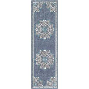 """Surya Alfresco ALF-9678 2'5"""" x 7'10"""" Runner Traditional Rug in Charcoal  Taupe  Teal  White"""