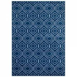 Modway Frame Collection R-1130B-58 Transitional Moroccan Trellis 5x8 Area Rug in Moroccan Blue and Light Blue