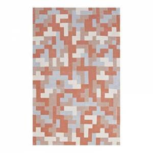 Modway Andela Collection R-1022B-58 Interlocking Block Mosaic 5x8 Area Rug in Multicolored Coral and Light Blue