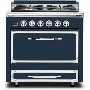 """Viking TVDR3614BSB 36"""" Tuscany Series Professional Dual Fuel Range with 4 Sealed Burners  Storage Drawer  Electronic Spark Ignition and Porcelain Coated"""