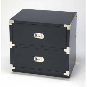 Butler Anew Collection 5257291 2 Drawer Campaign Chest with Transitional Style  Rectangular Shape  Medium Density Fiberboard (MDF) and Rubberwood Solids in