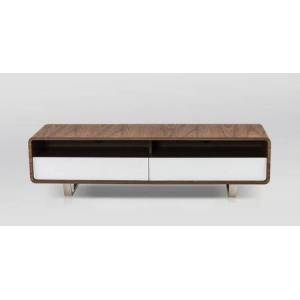 """J and M Furniture Gramercy 18237 59"""" x 16"""" TV Base with Walnut Veneer  2 Shelves and 2 Drawers in White High"""