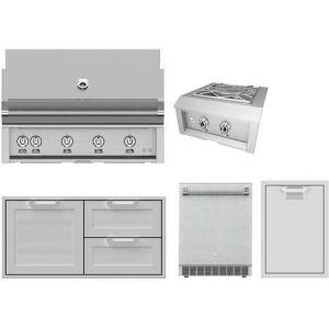 """Hestan 5 Piece Outdoor Kitchen Equipment Package with GMBR42NG 42"""" Natural Gas Grill  AGPB24NG 24"""" Gas Side Burner  AGSDR42 42"""" Double Drawer And Storage"""