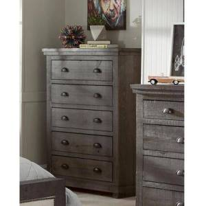 """Progressive Furniture Willow Collection 38"""" P600-14 Chest with 5 Storage Drawers and Vintage look in Distressed Dark"""