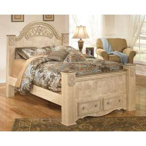 Ashley Saveaha Collection B346-50/67/64S/98 Queen Size Poster Storage Bed with Fluted Style Feet  Metallic Champagne Tipped Beads and Replicated Maple and